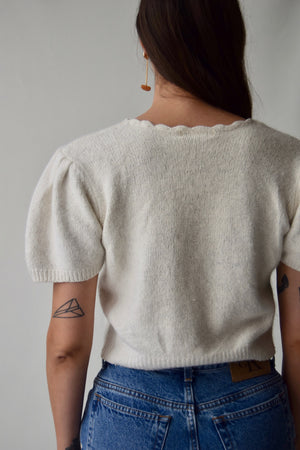 Princess Sleeve Ivory Silk Knit