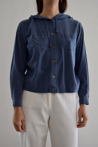 Dusty Blue Raw Silk Hooded Button Up Top