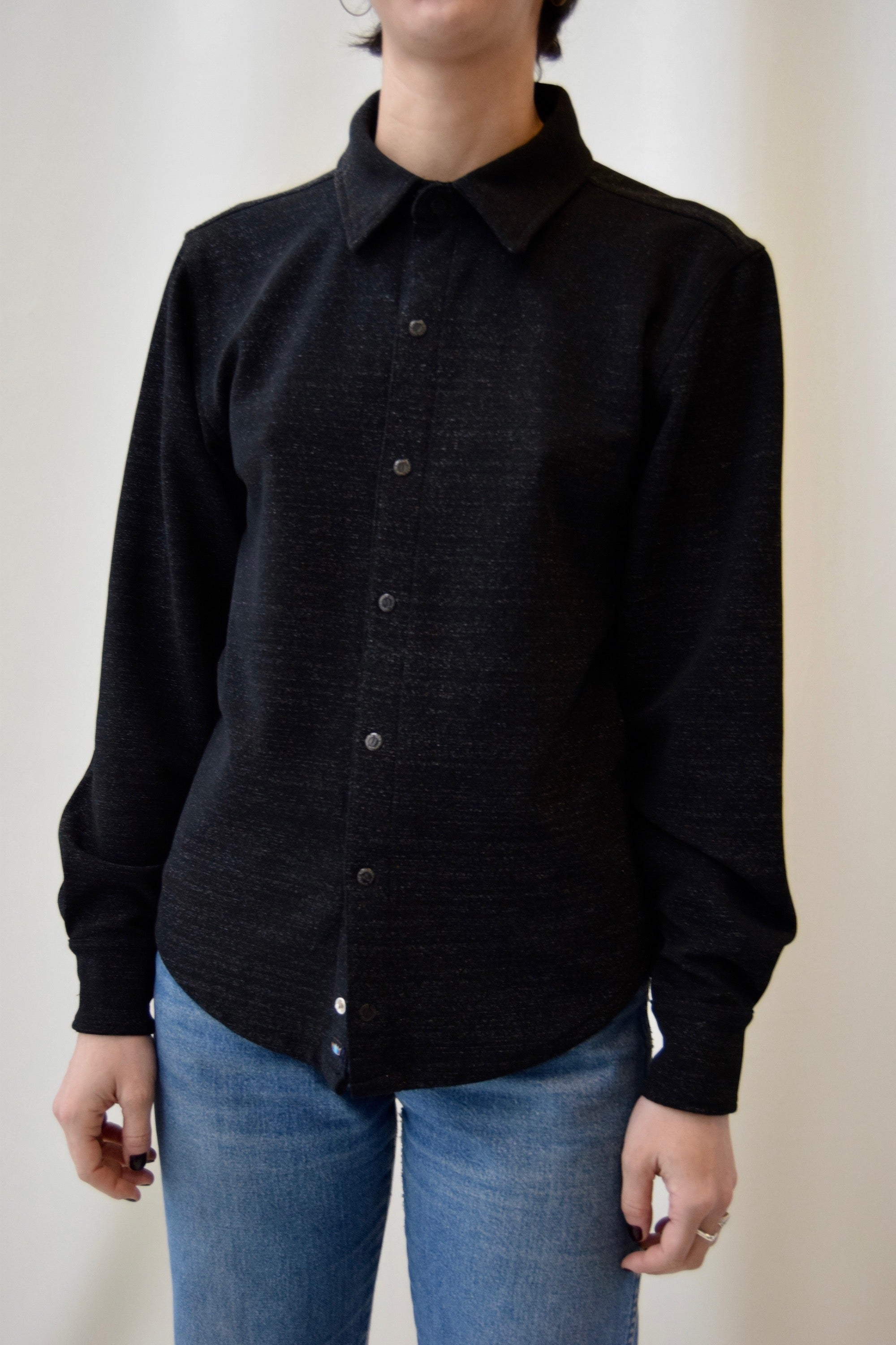 Vintage Todd Oldham Black Shimmer Long Sleeve Button Up FREE SHIPPING TO THE U.S.