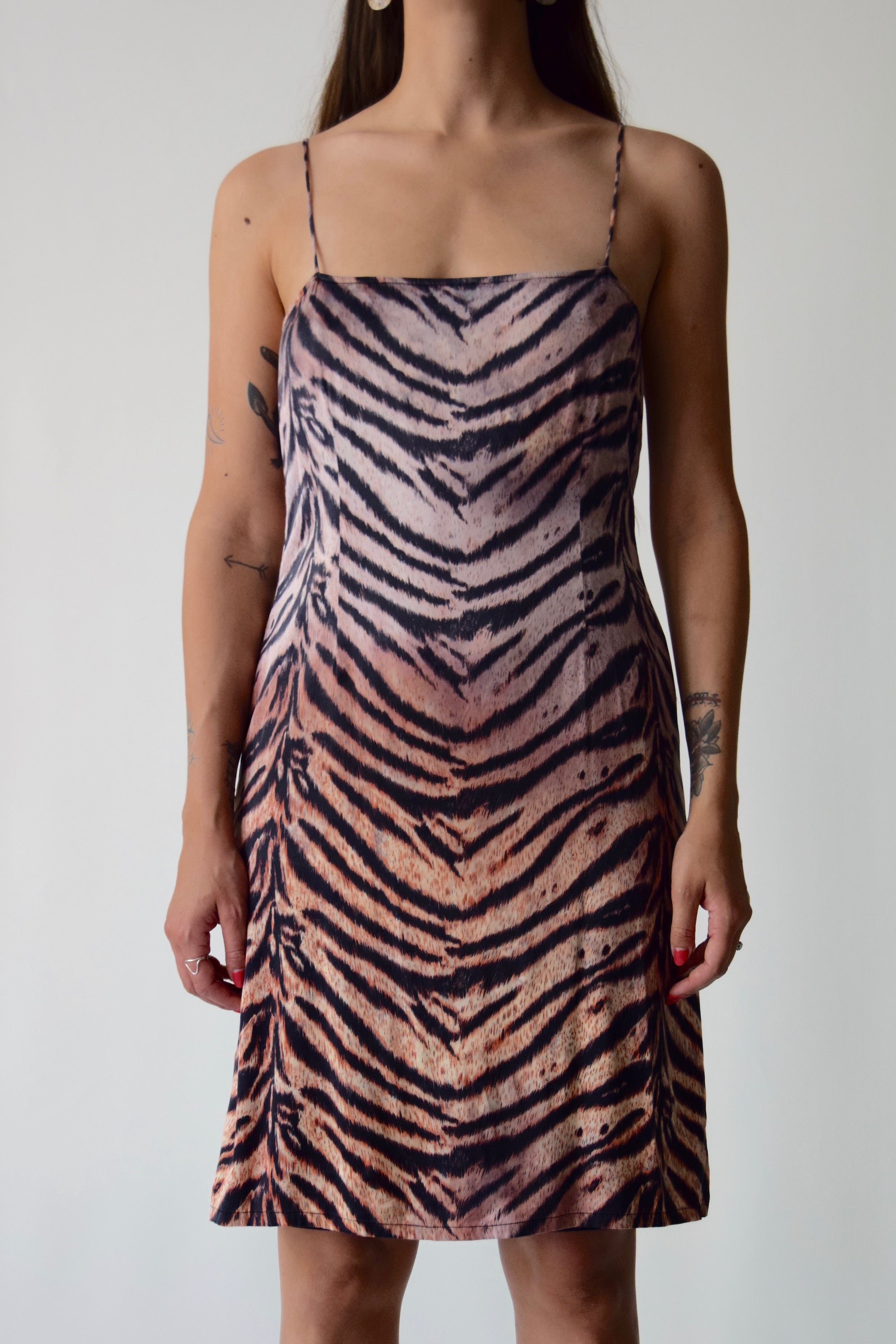 90's Stretchy Silk Ombre Tiger Print Dress
