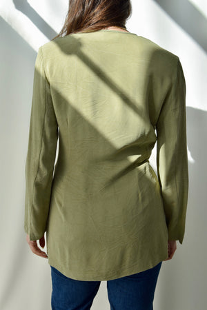 Muted Olive Open Rayon Blazer