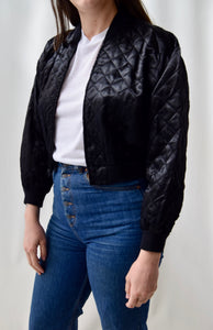 Black Satin Quilted Cropped Bomber