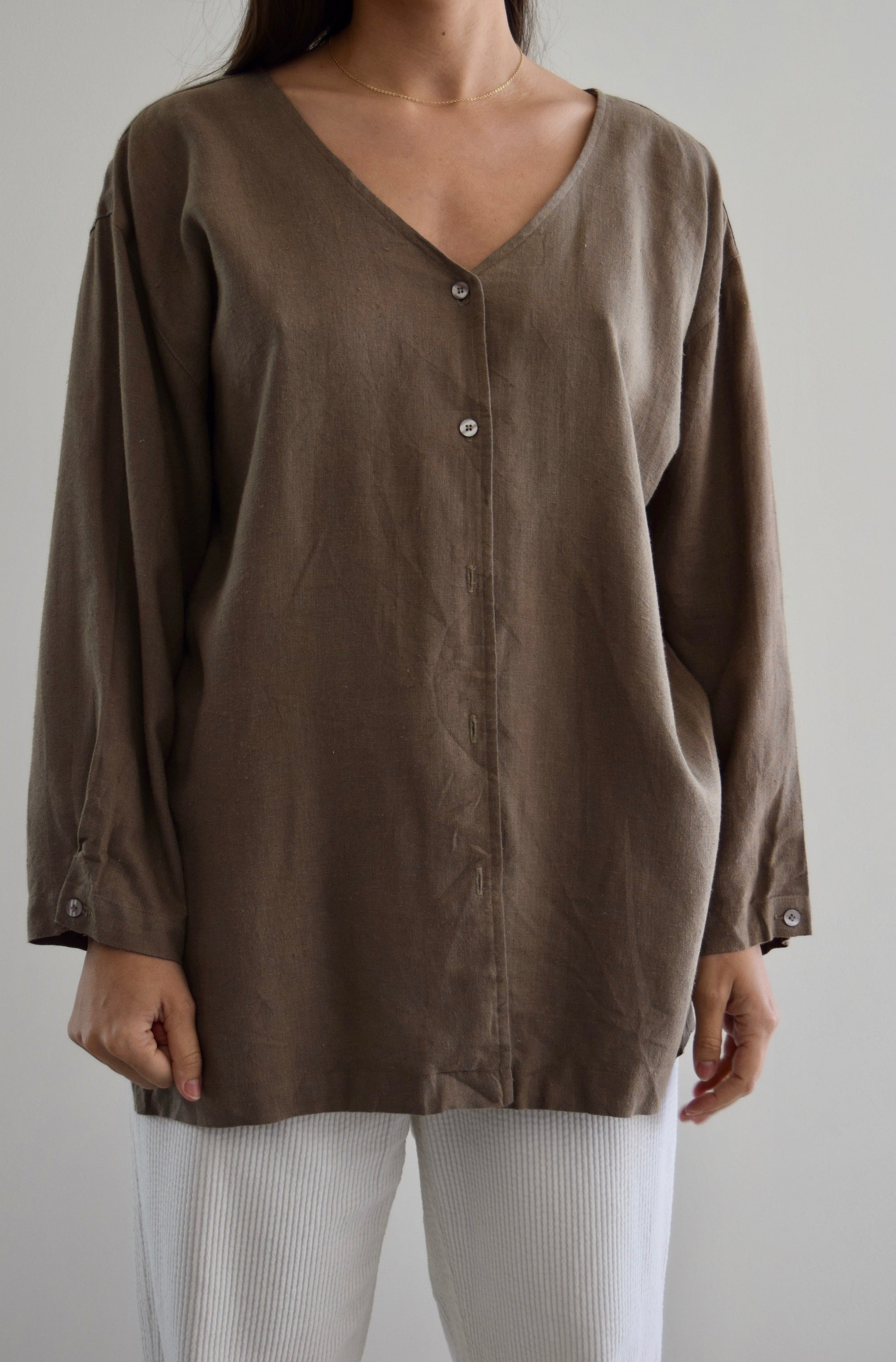 Cedar Linen Button Up Top