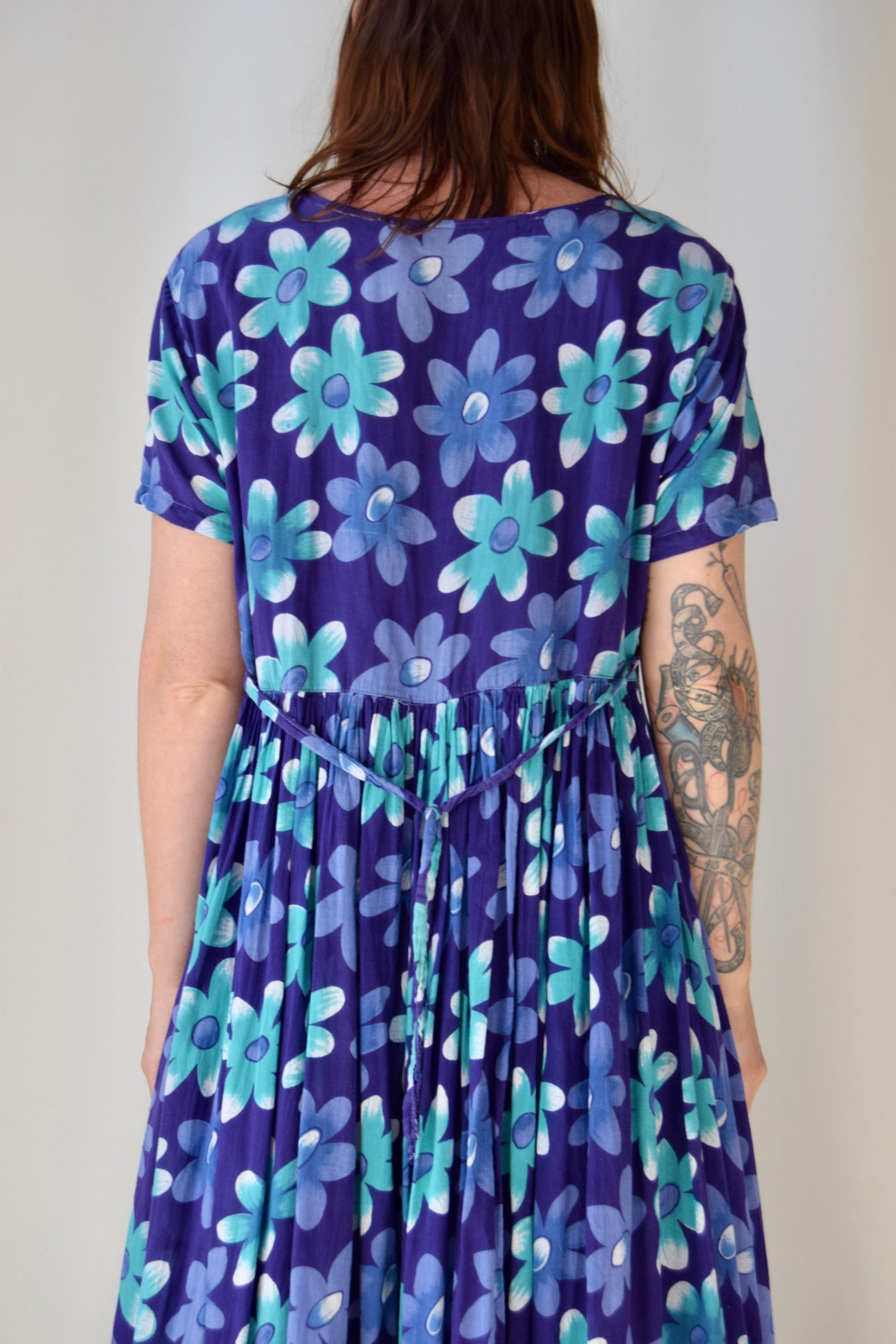 Purple and Turquoise Daisy Gauze Cotton Dress