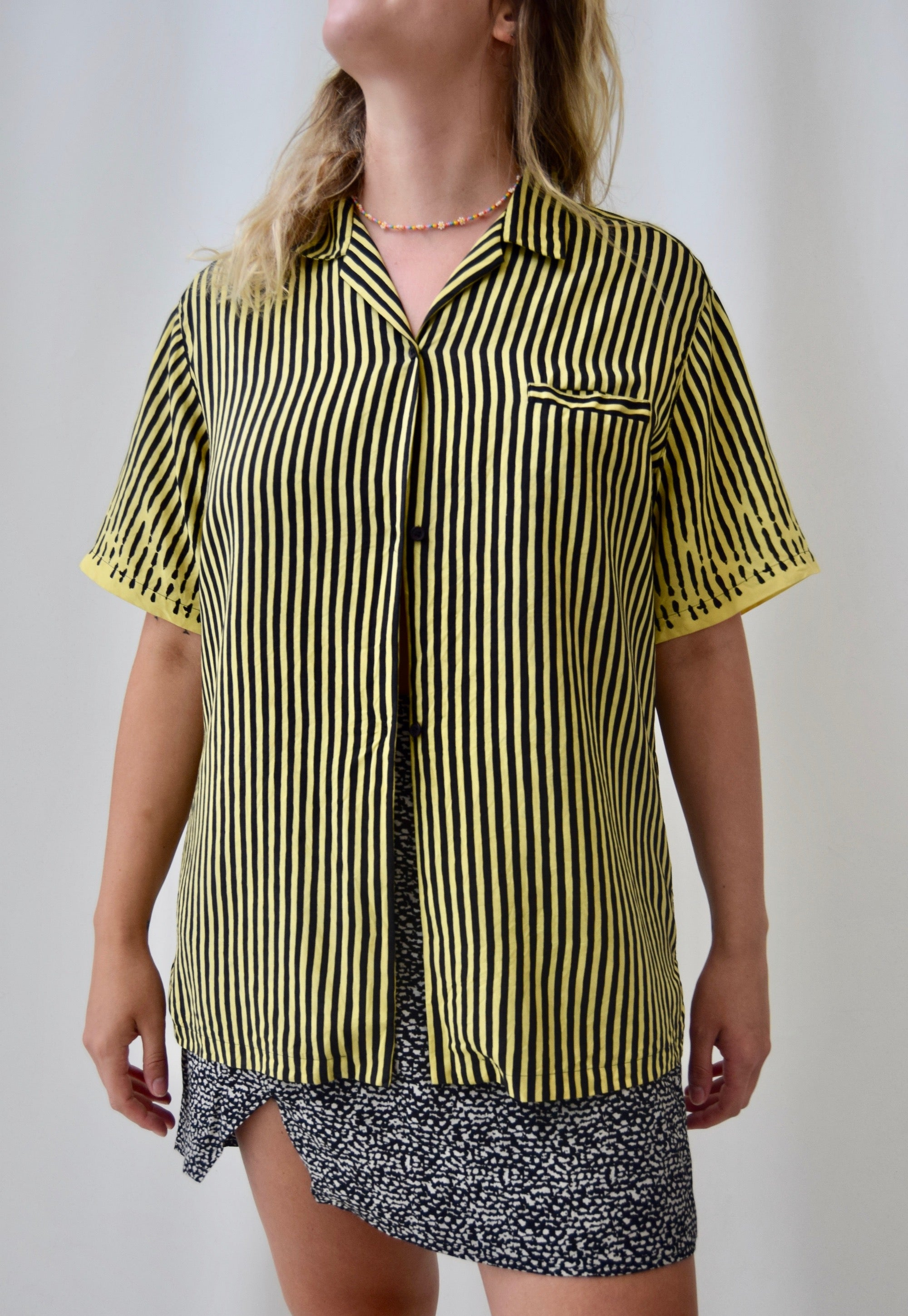Stephen Sprouse Black and Yellow, Black and Yellow Silk Top