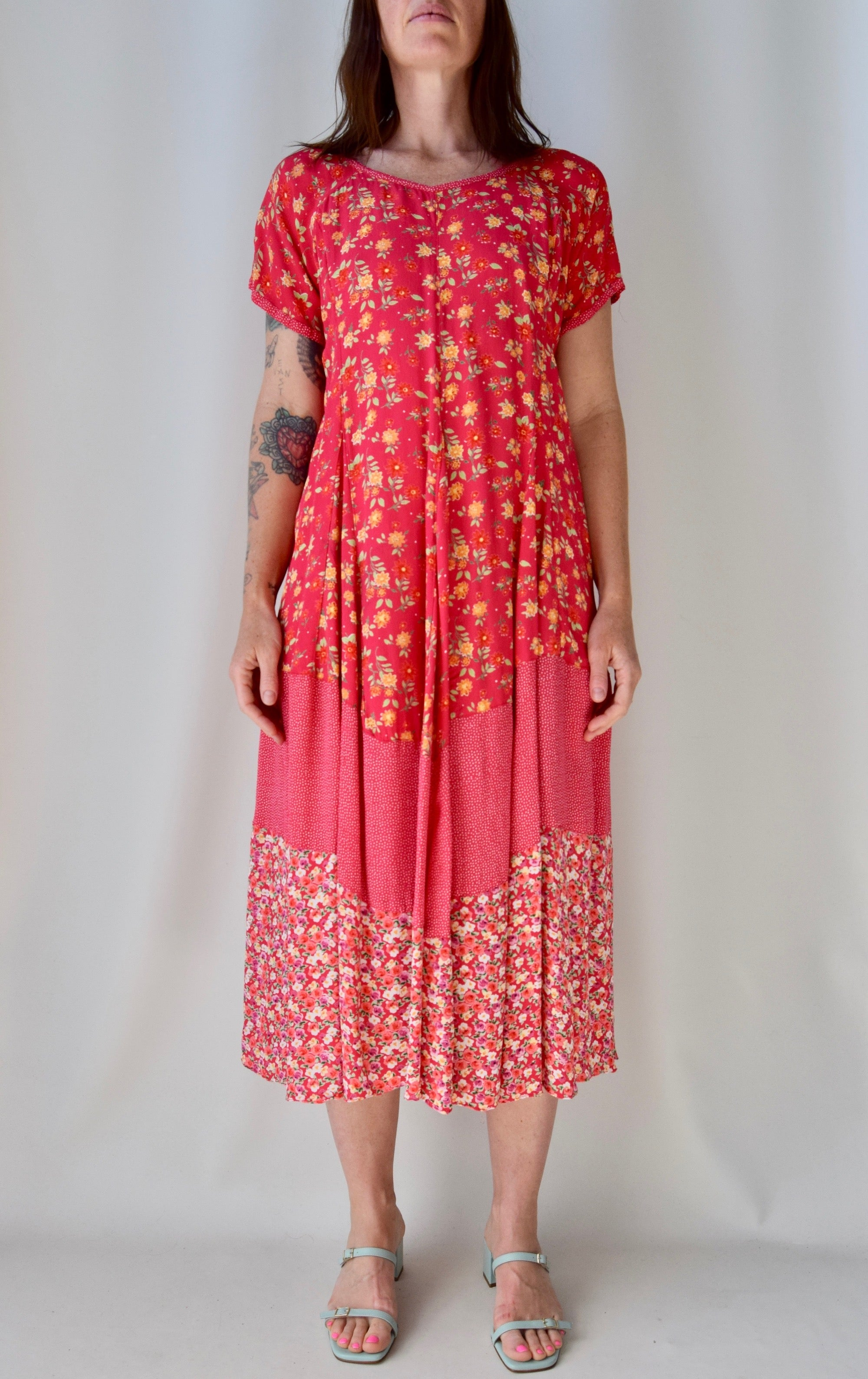Pink Rayon Multi Floral Print Dress