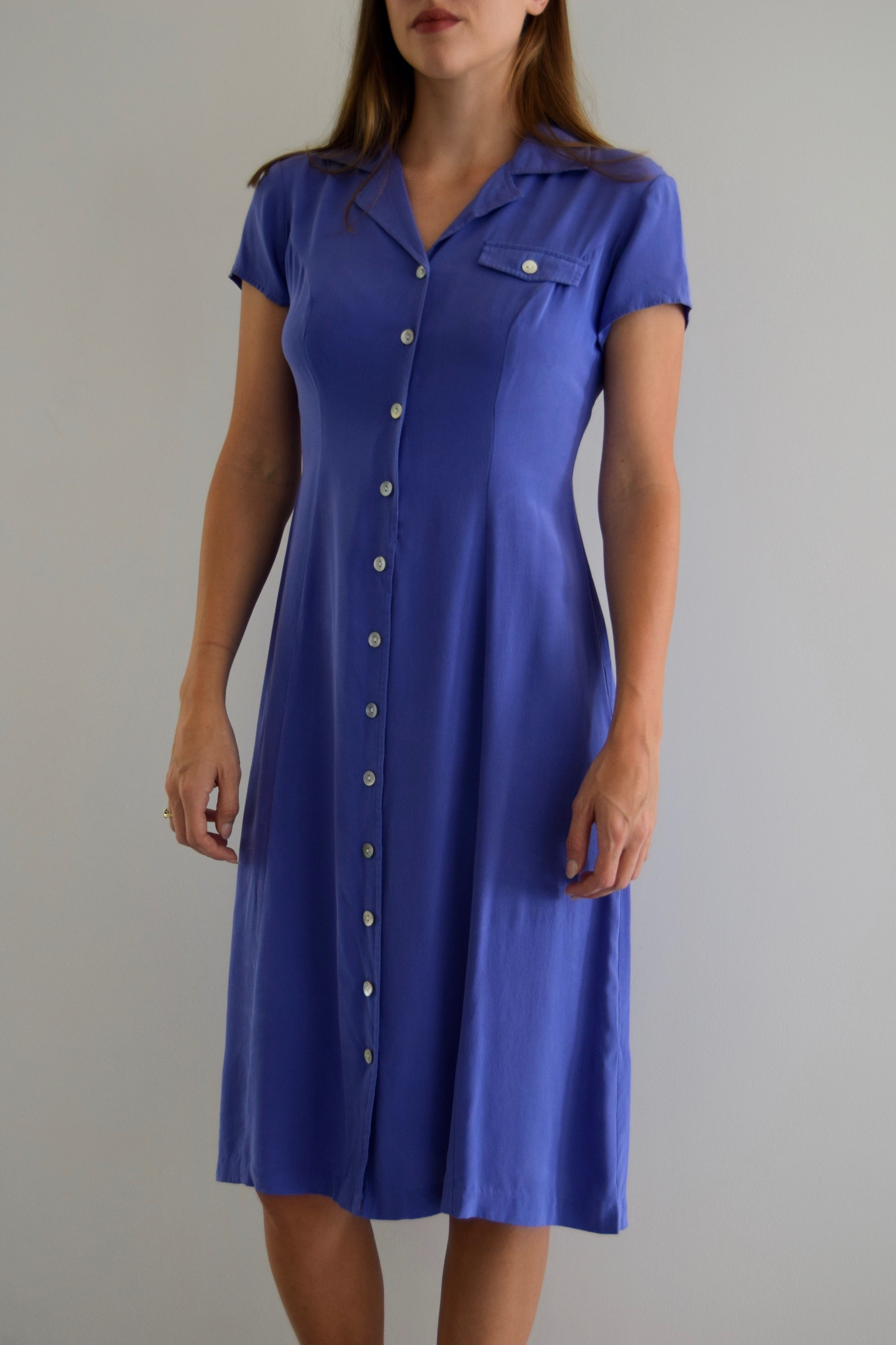 Iris Silk Button Down Midi Dress