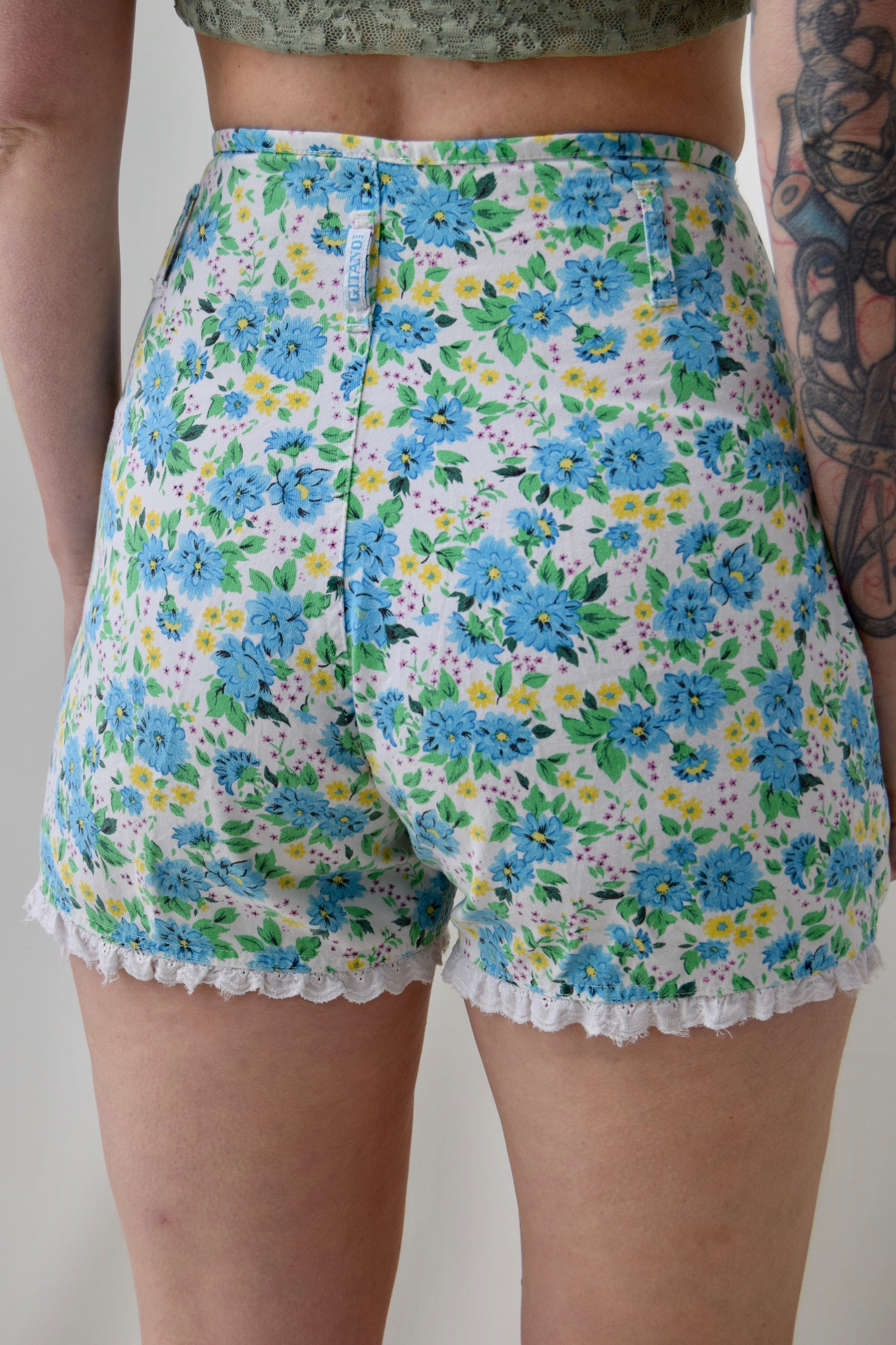 90's High Waist Floral Shorties