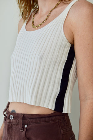 Ribbed Knit Athleisure Cropped Tank