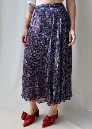 Reversible Rayon Floral and Polka Dot Maxi Skirt