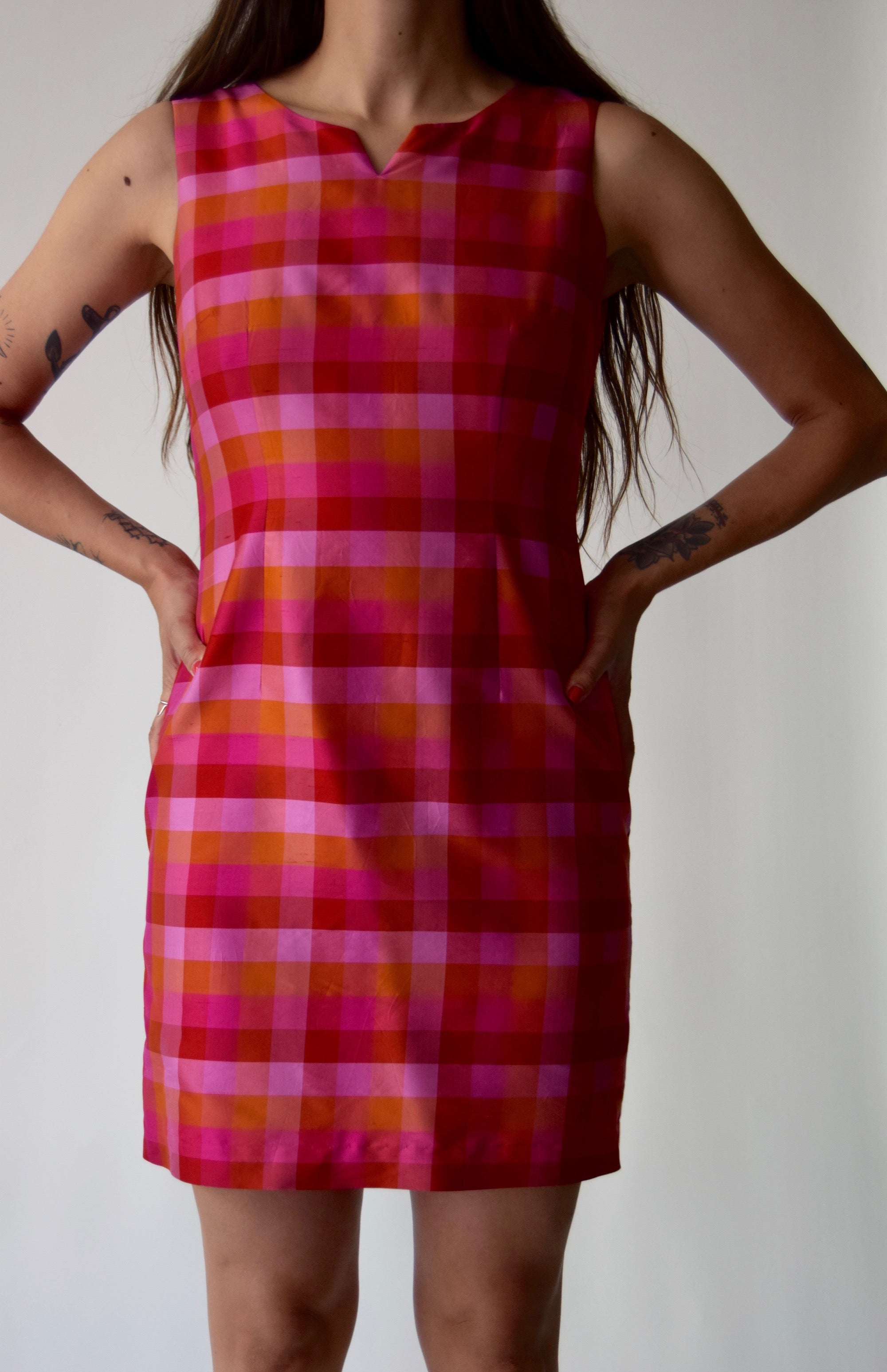 Sunset Check Silk Dress FREE SHIPPING
