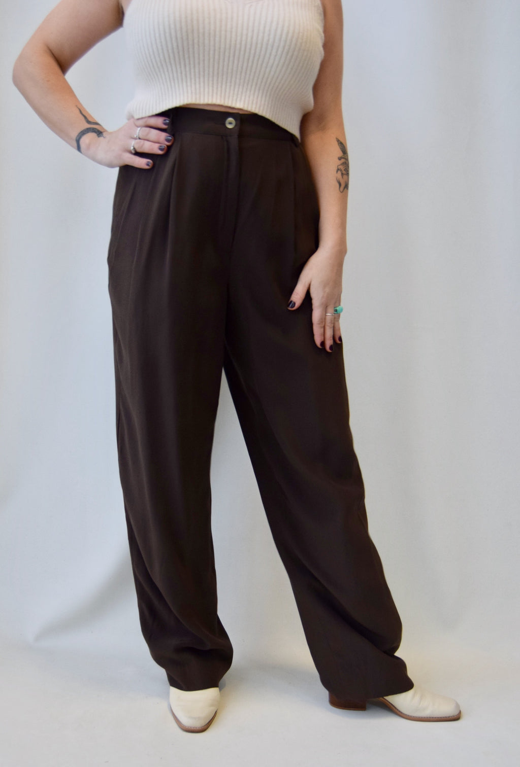 Chocolate Silk Trousers