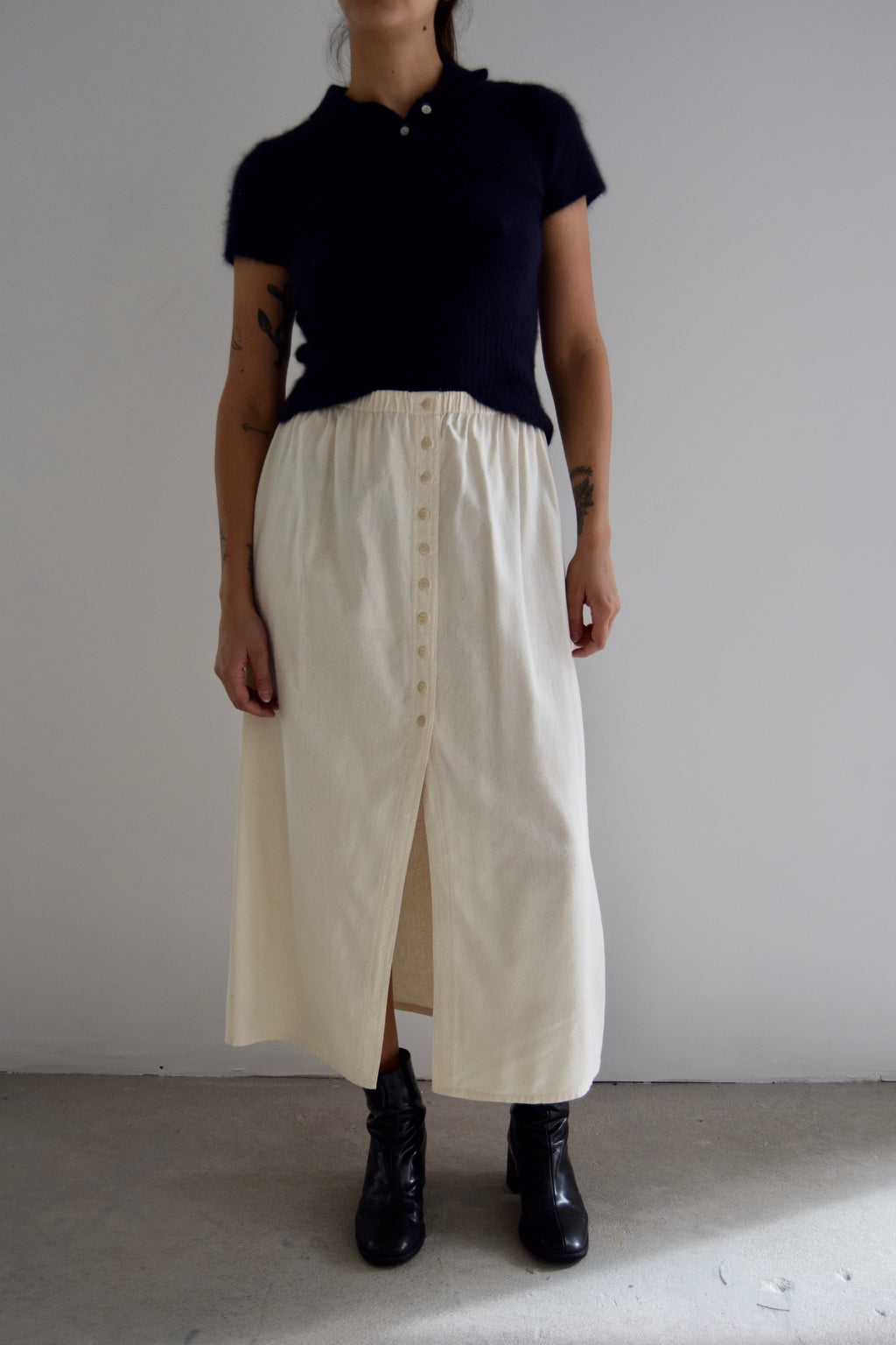 Ivory Raw Silk Button Down Skirt FREE SHIPPING TO THE U.S.