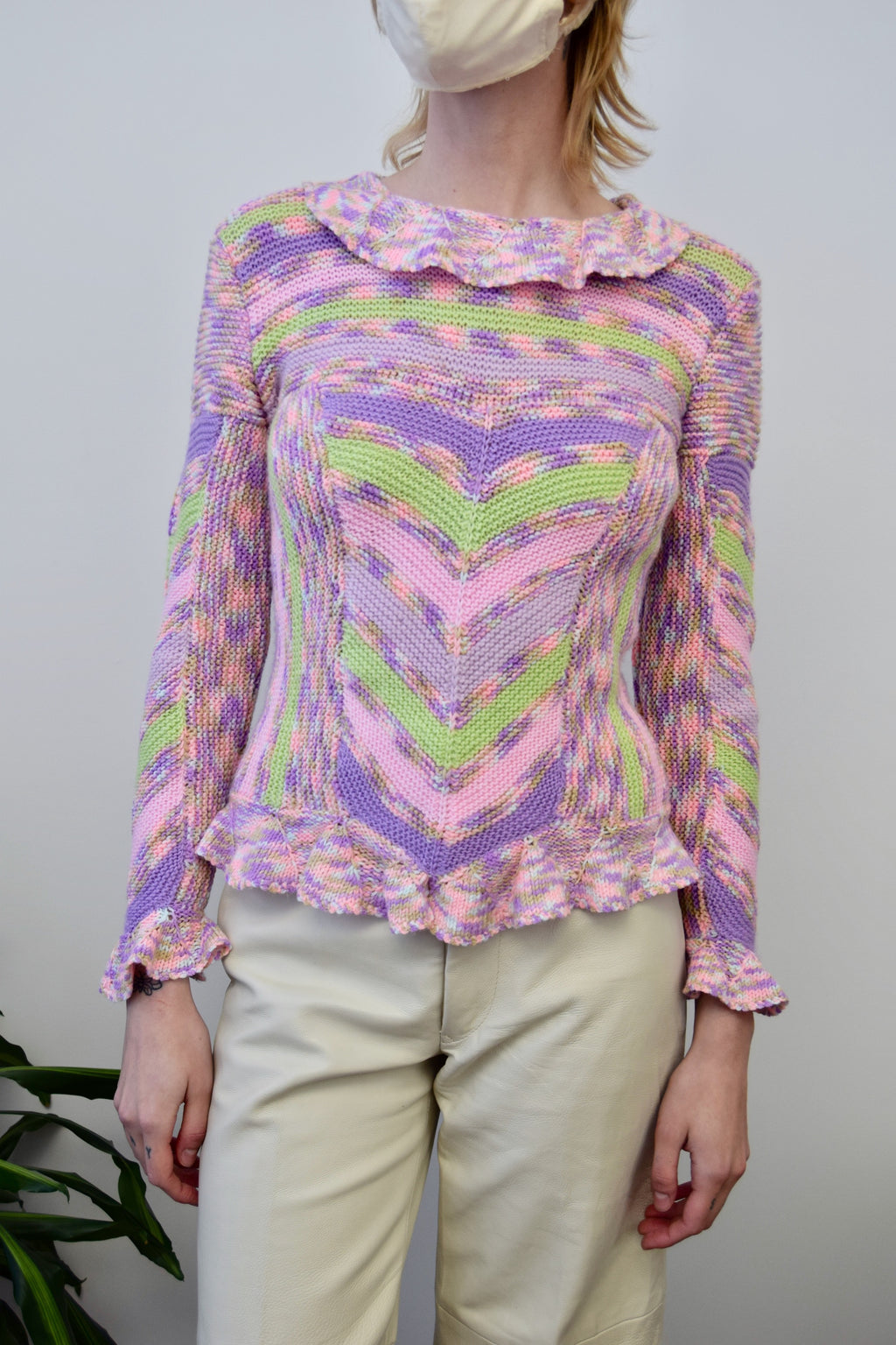 Ruffle Rainbow Sweater
