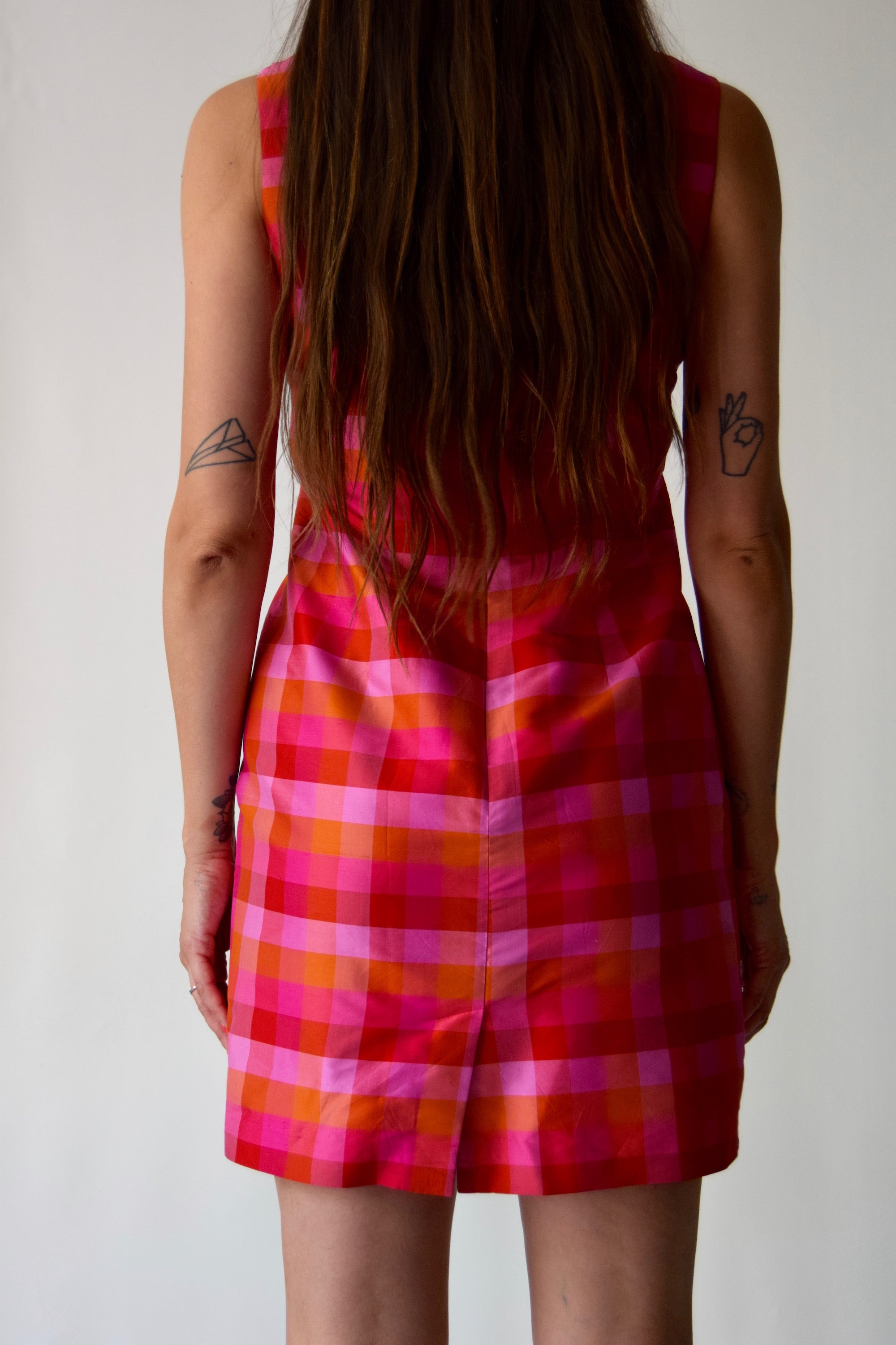 Sunset Check Silk Dress