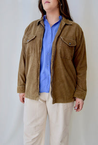 90's Cocoa Brown Corduroy Zipped Shirt