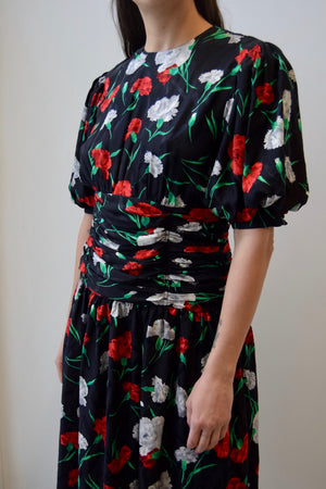 Vintage Silk Carnation Party Dress