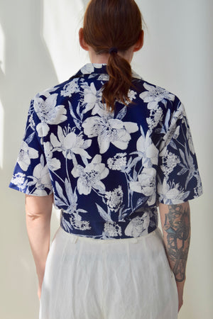 Cropped Navy and Floral Cotton Blouse