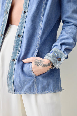 Seventies Denim and Suede Shirt Jacket