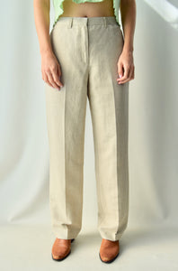 Tan Linen Blend Trousers