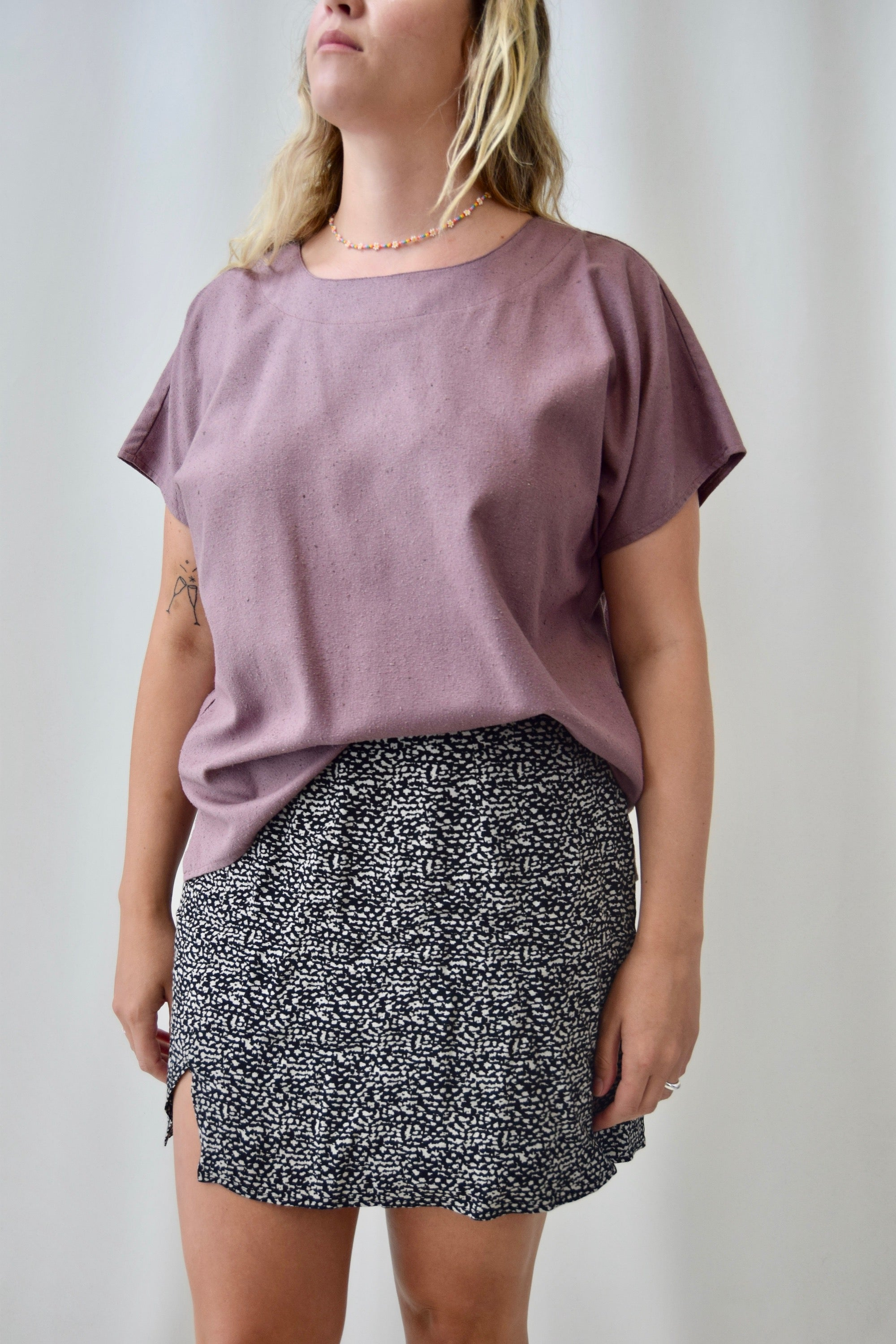 Dusty Mauve Raw Silk T-Shirt