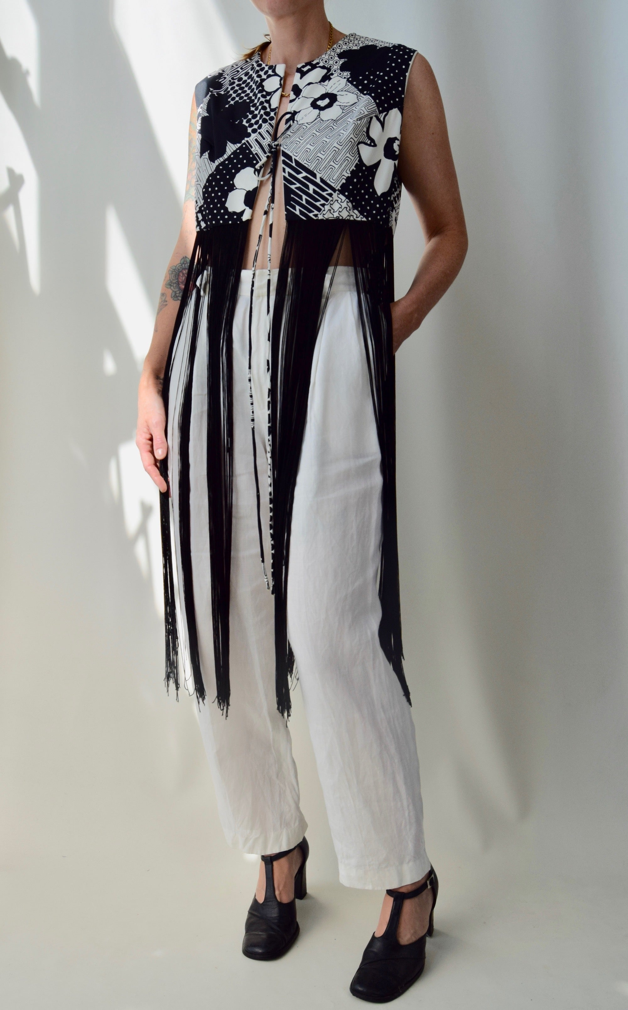 1970's Black and White Fringe Vest Top