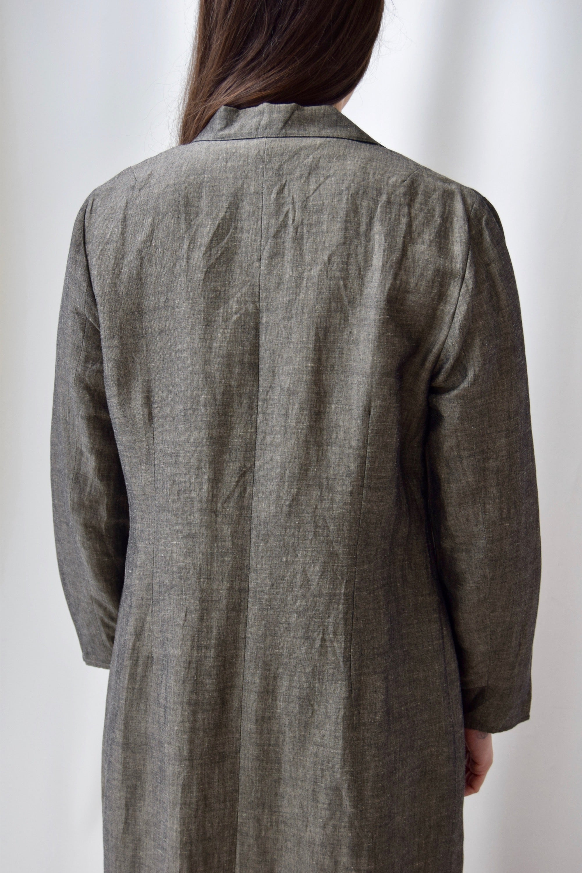 Olive Grain Long Linen Duster