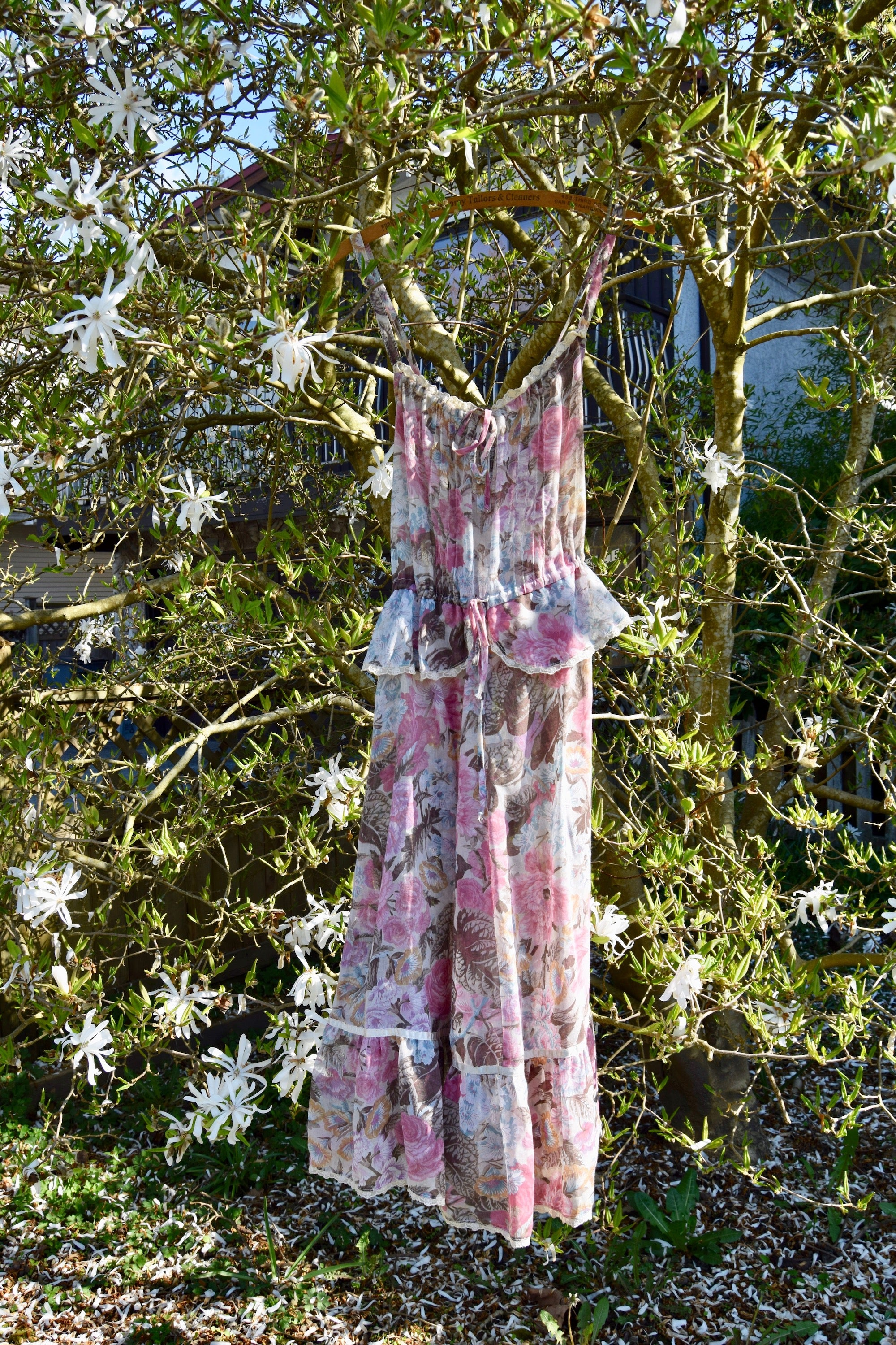 "1970's ""Foxy Lady"" Sheer Floral Dress"