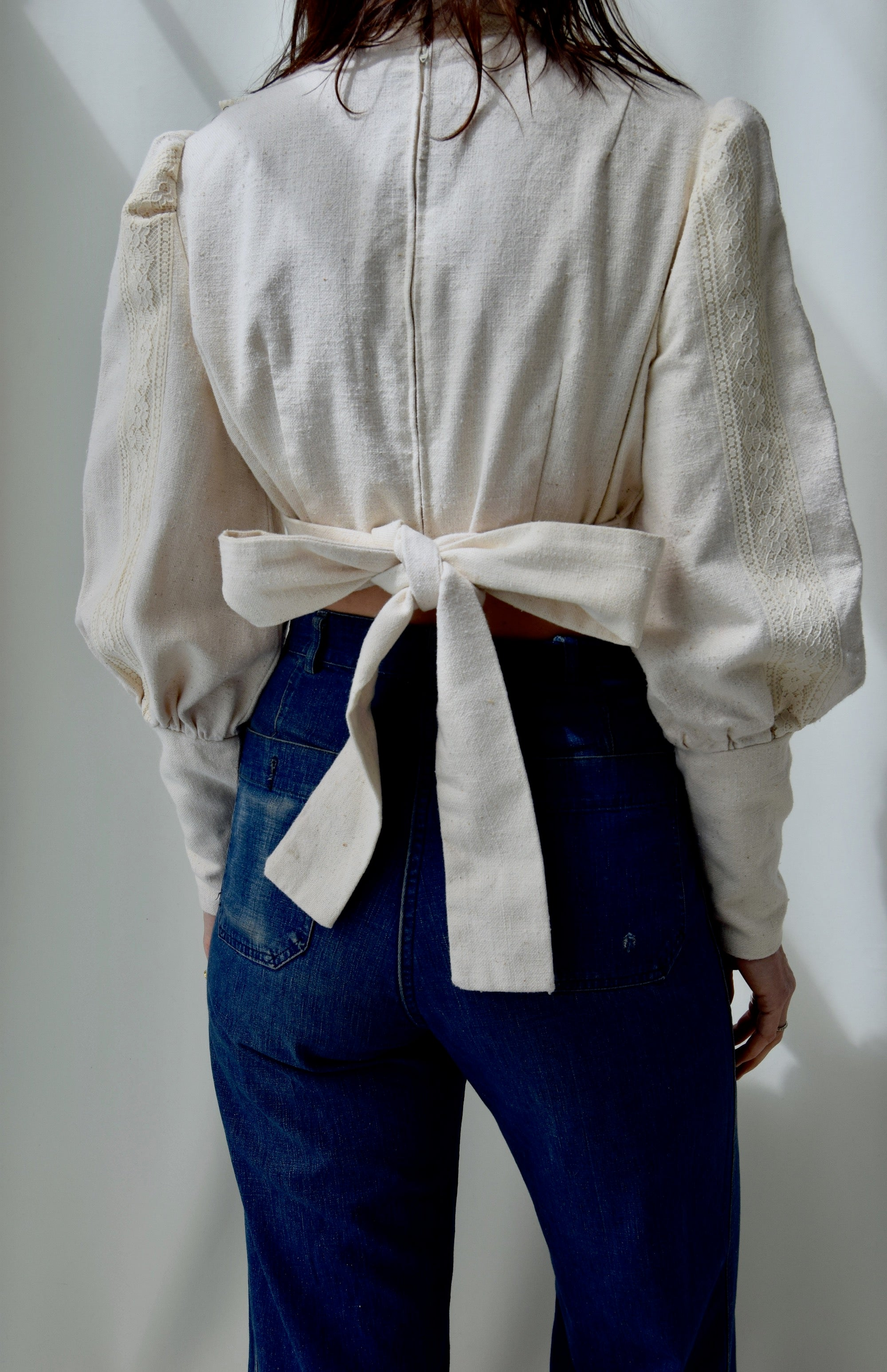1970's Mutton Sleeve Cropped Blouse