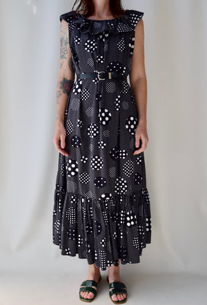 Black and White Polka Dot Ruffle Maxi Dress