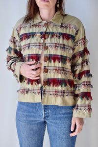 Plaid Fringe Jacket