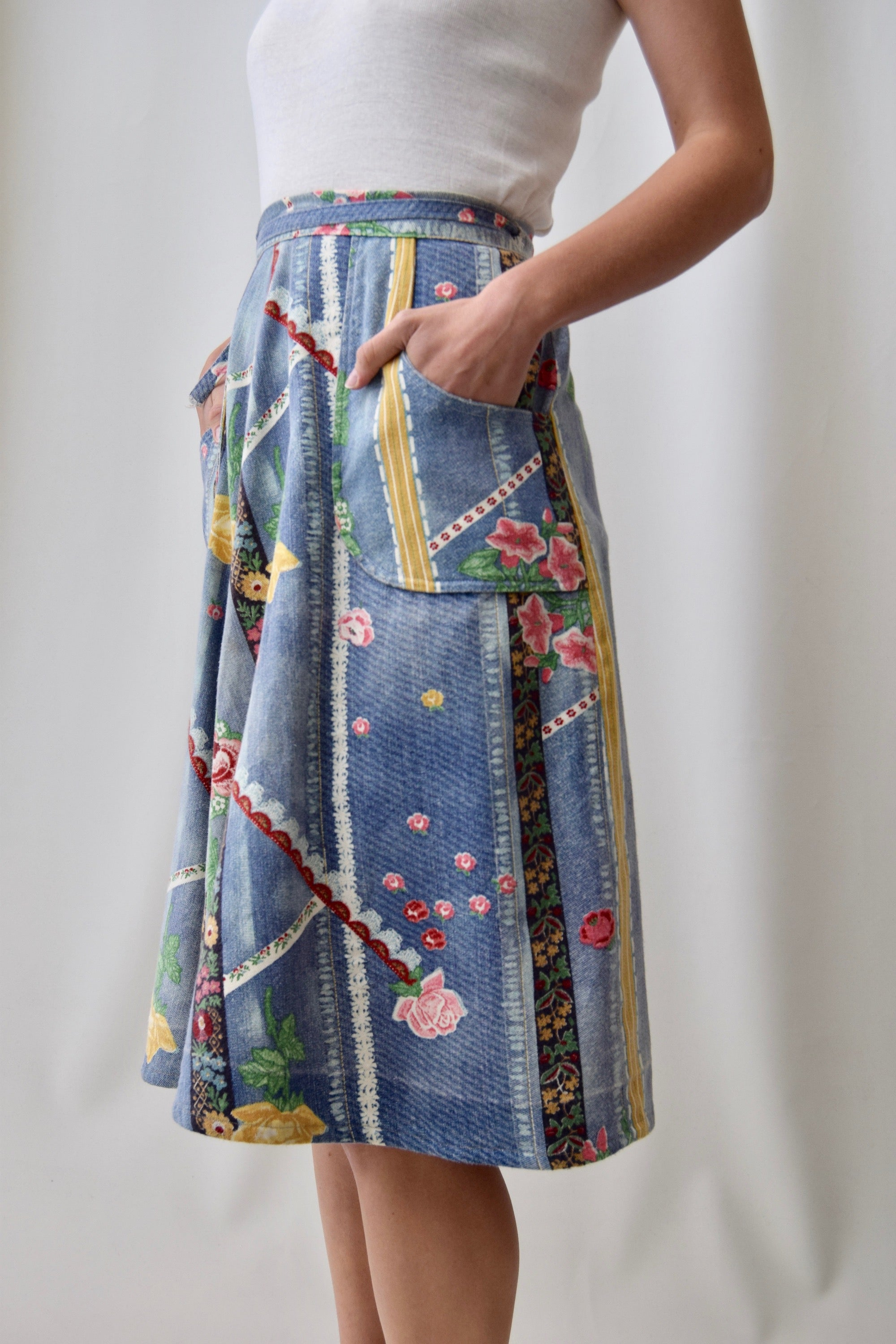 Vintage Faux Denim Floral Wrap Skirt