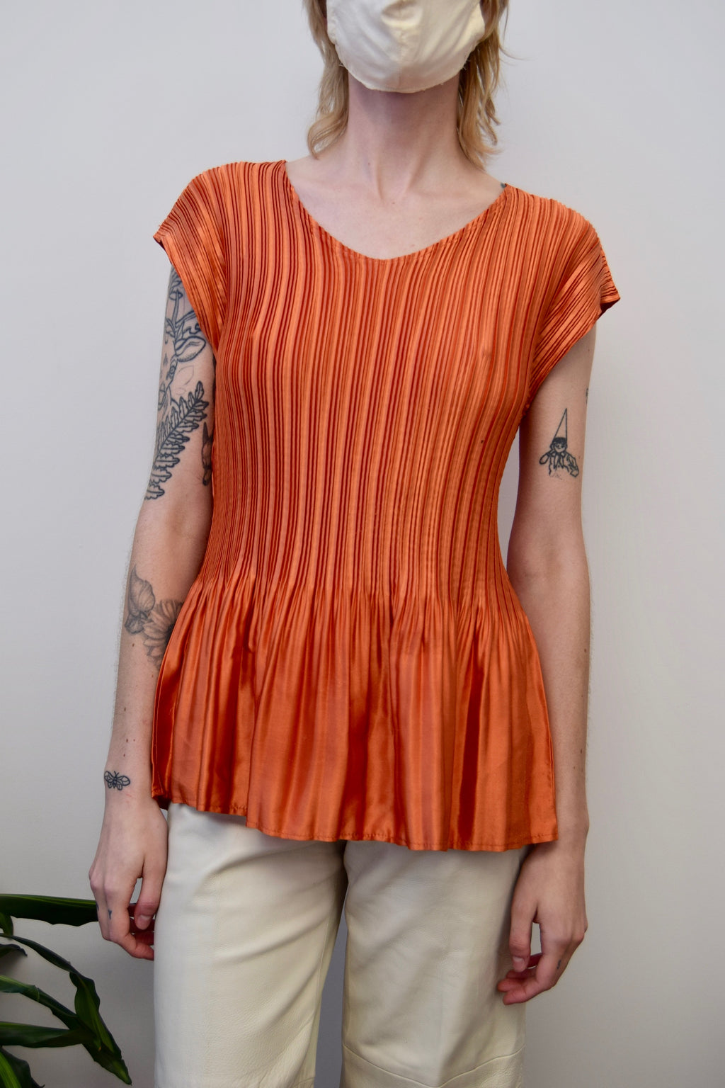 Pleated Orange Shiny Top