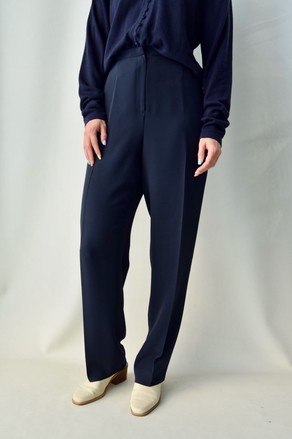 High Waisted Midnight Rayon Trousers