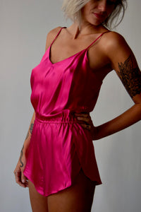 Vintage Hot Pink Silk Teddy Romper FREE SHIPPING
