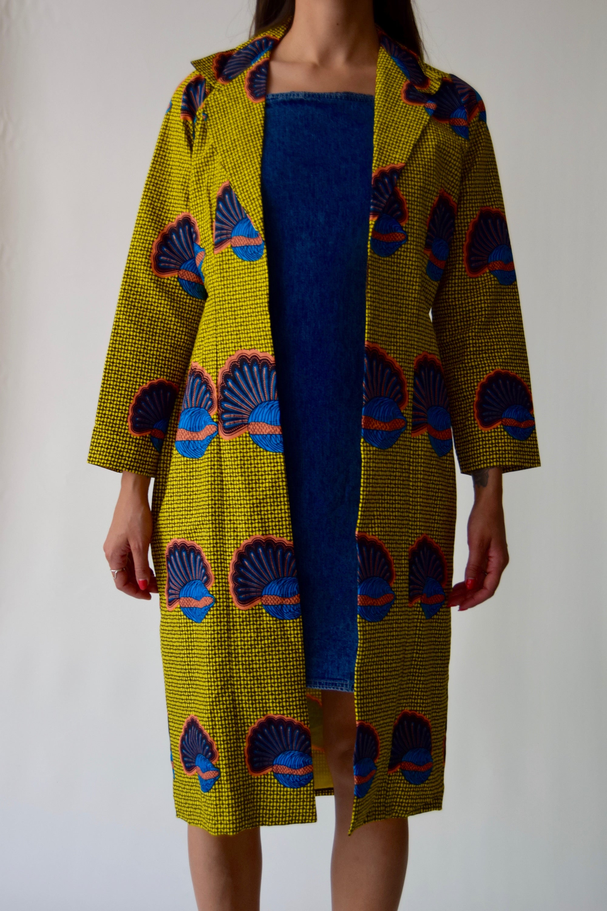 Vibrant Shell Print Cotton Summer Duster Jacket