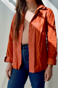 1970's Orange Leather & Suede Shirt