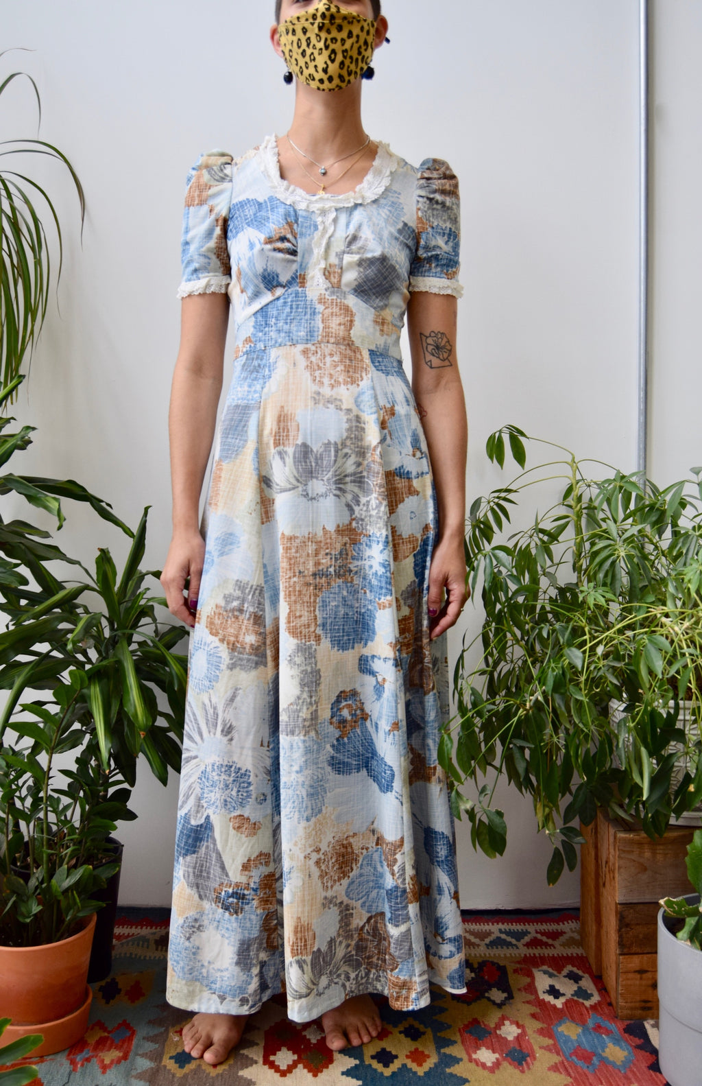 Seventies Grid Floral Maxi Dress