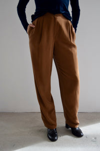 Liz Claiborne Collection Acorn Brown Silk Trousers