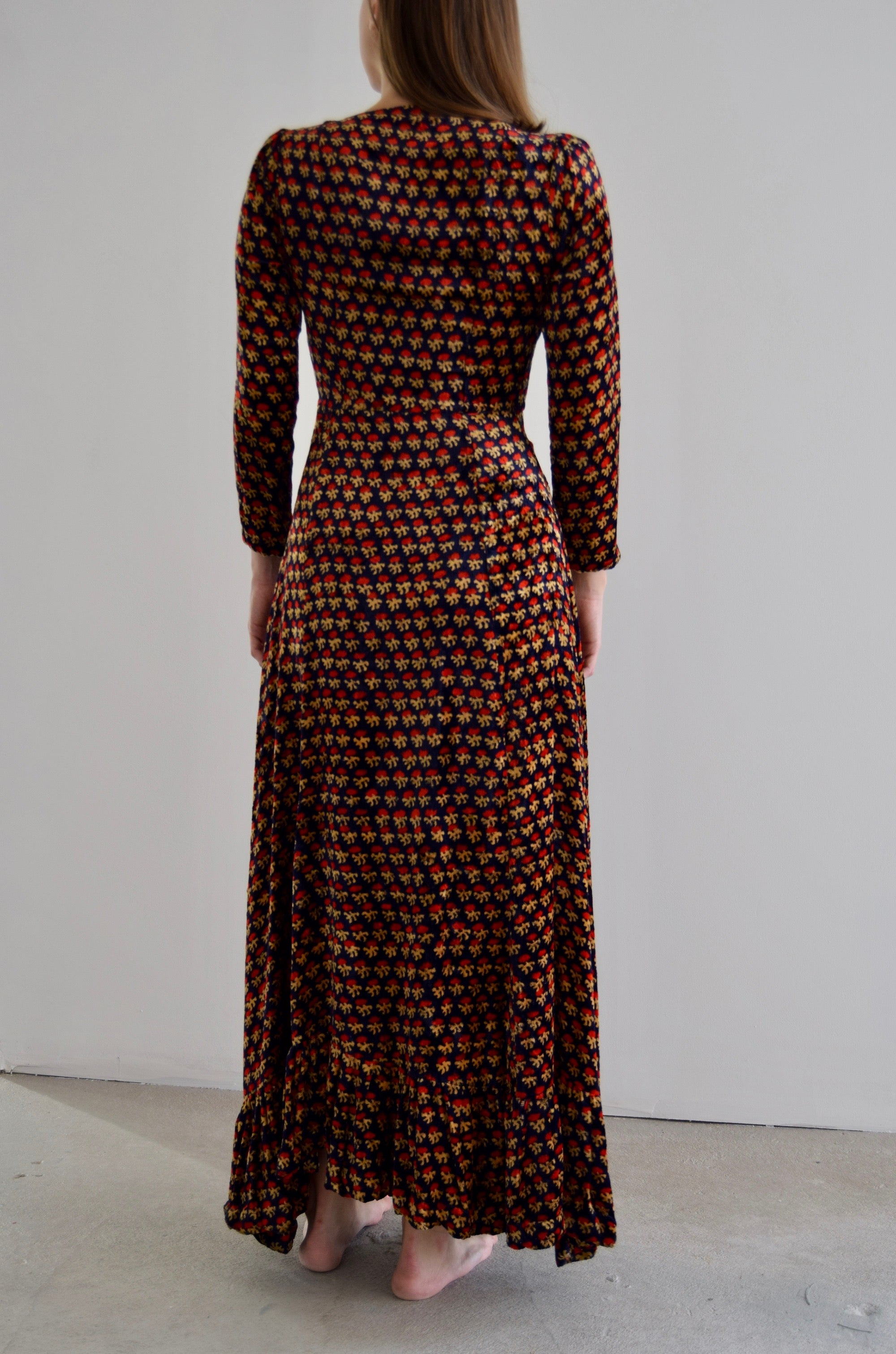 1970's Indian Printed Velvet Dress