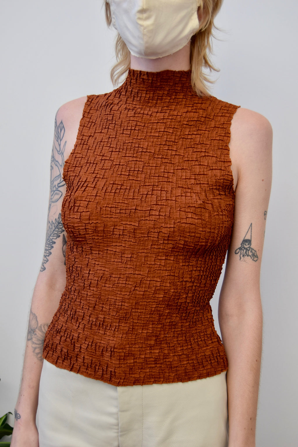 Caramel Crinkle Mock Neck Top