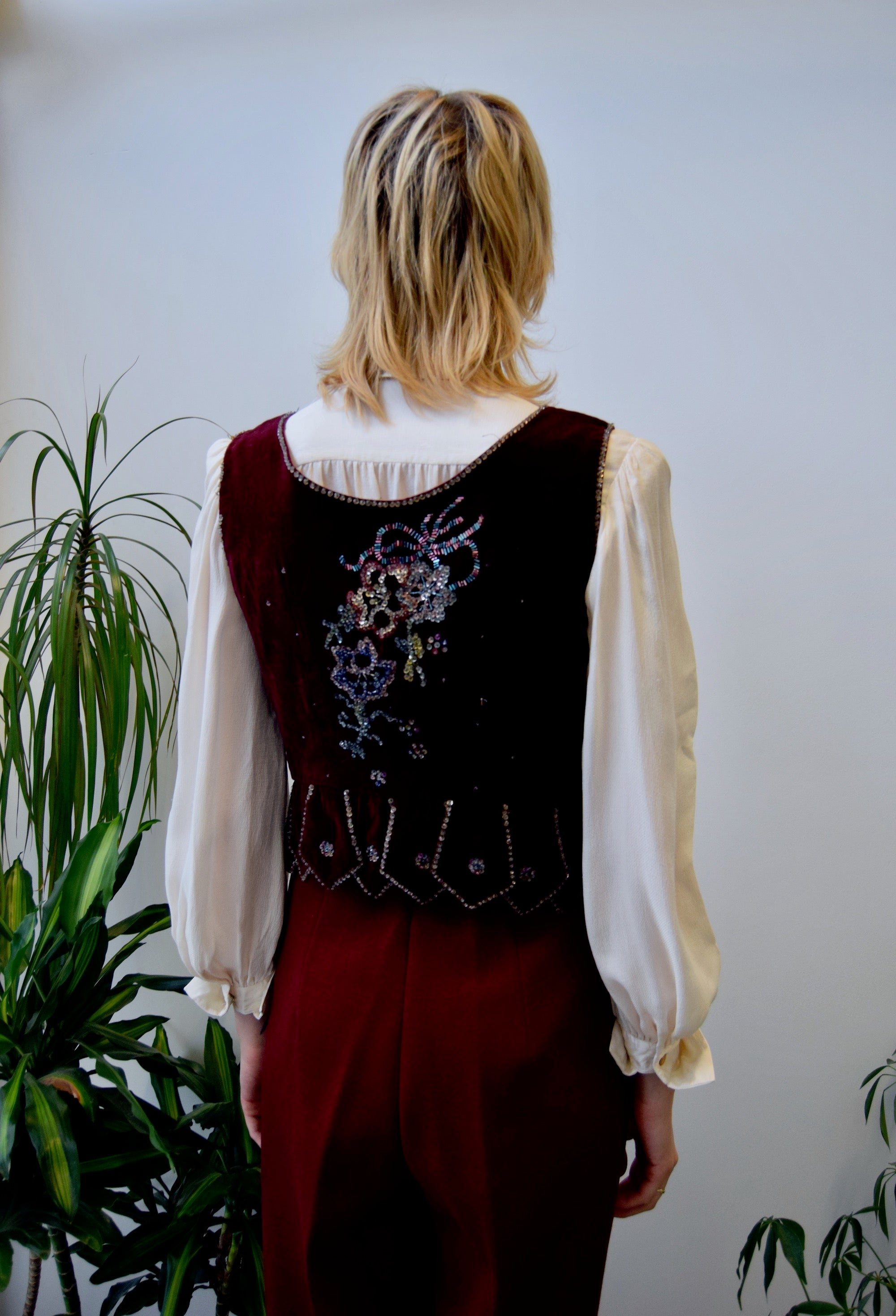 Vintage Velvet Polish Laced Bustier Top