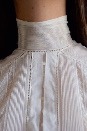 Antique Victorian High Collar Gauze Cotton Blouse