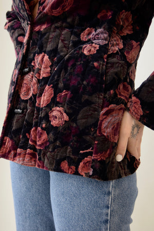 Vintage 70's Velveteen Quilted Dusty Rose Printed Jacket