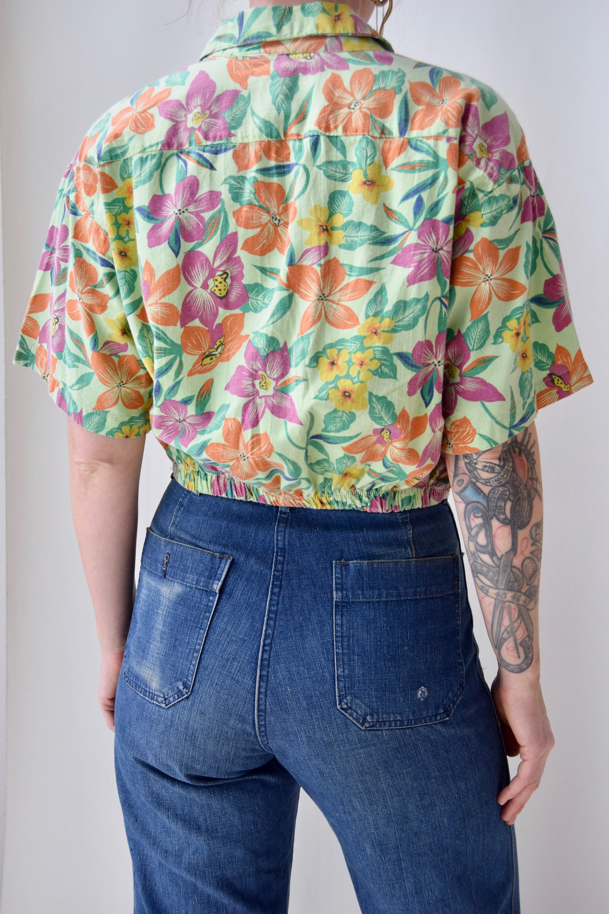 Muted Green Floral Crop Top