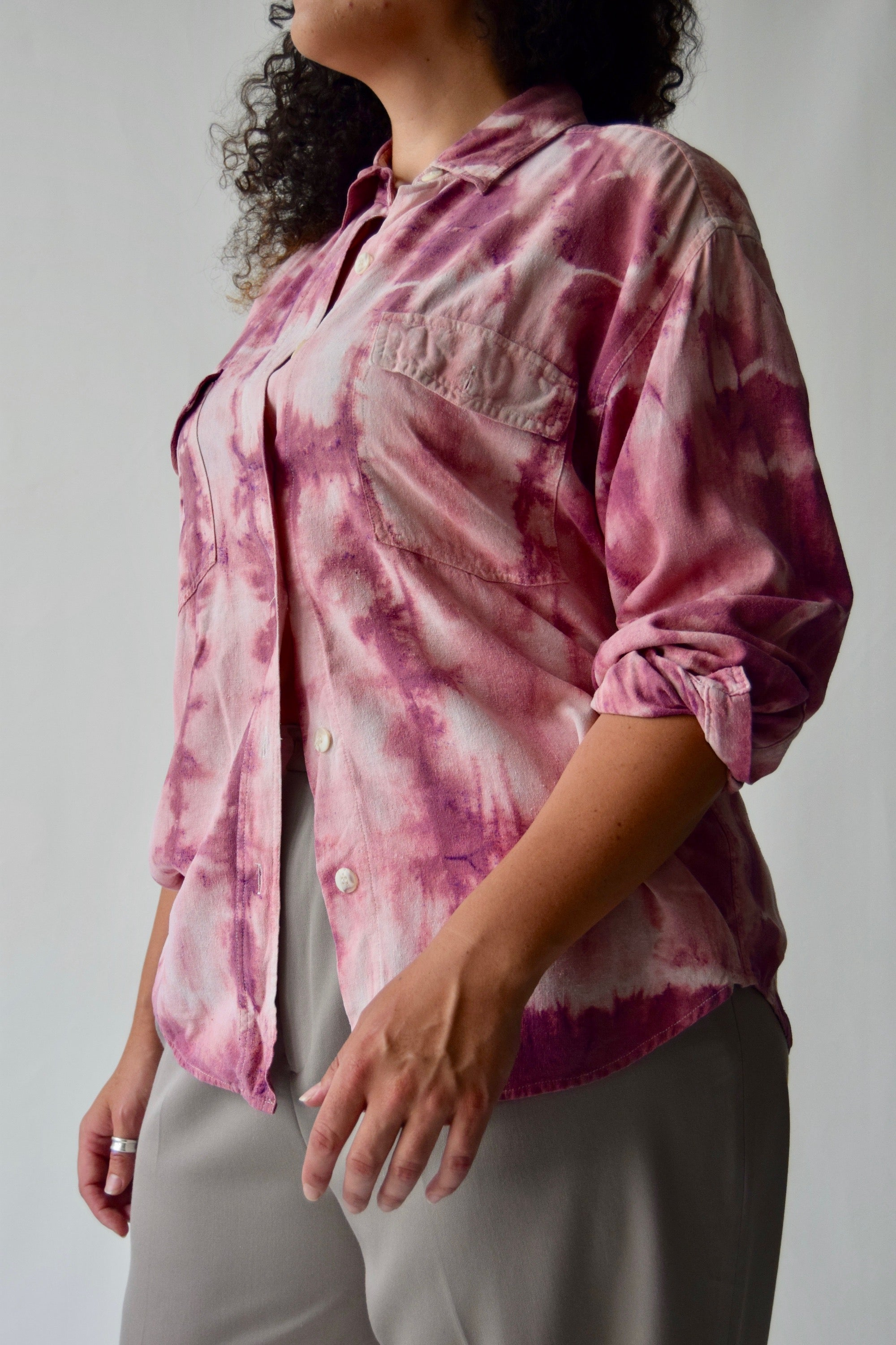 Raw Silk Pepto Pink Tie Dye Button Up FREE SHIPPING