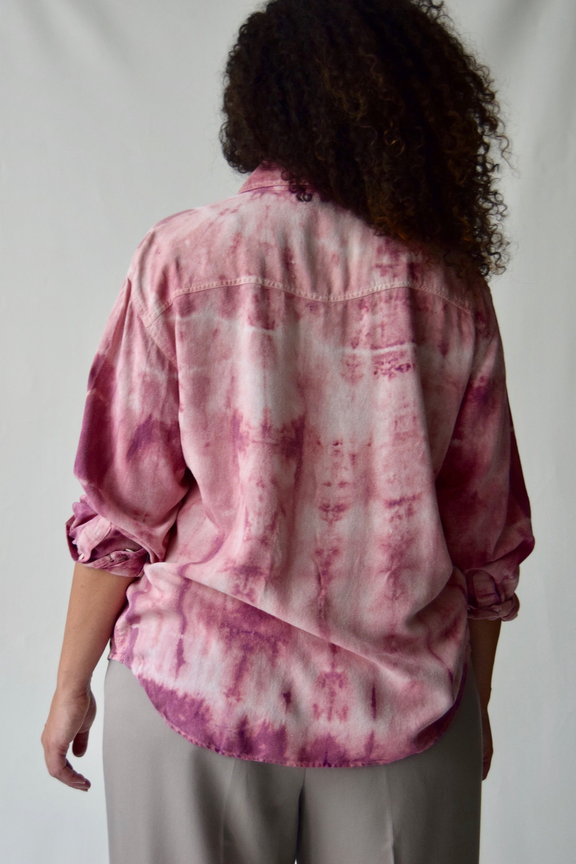 Raw Silk Pepto Pink Tie Dye Button Up