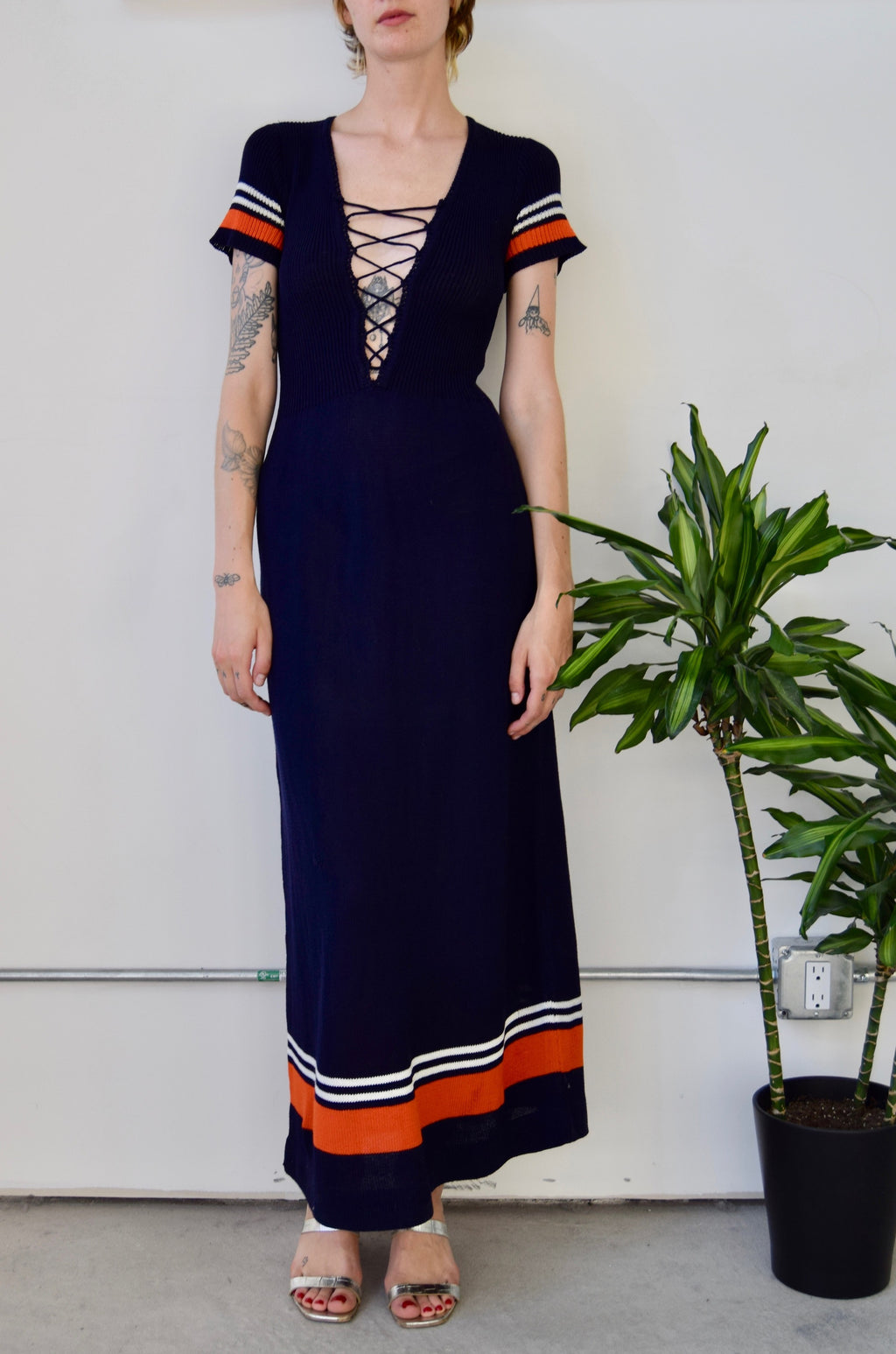 Seventies Plunging Navy Knit Maxi Dress