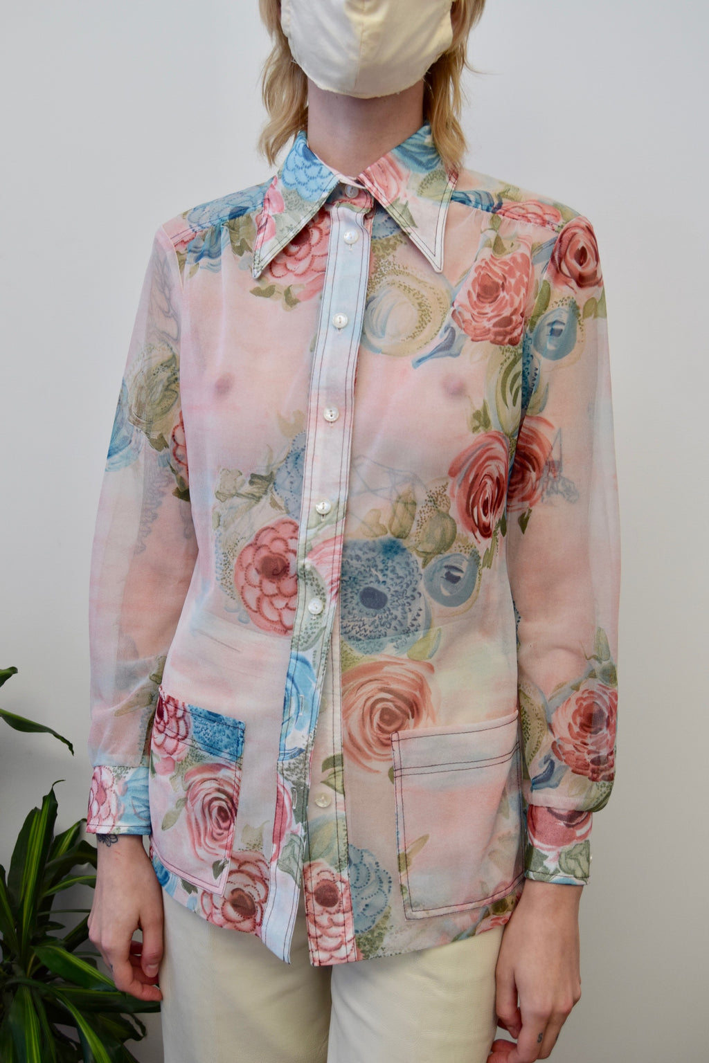 Seventies Sheer Rose Top