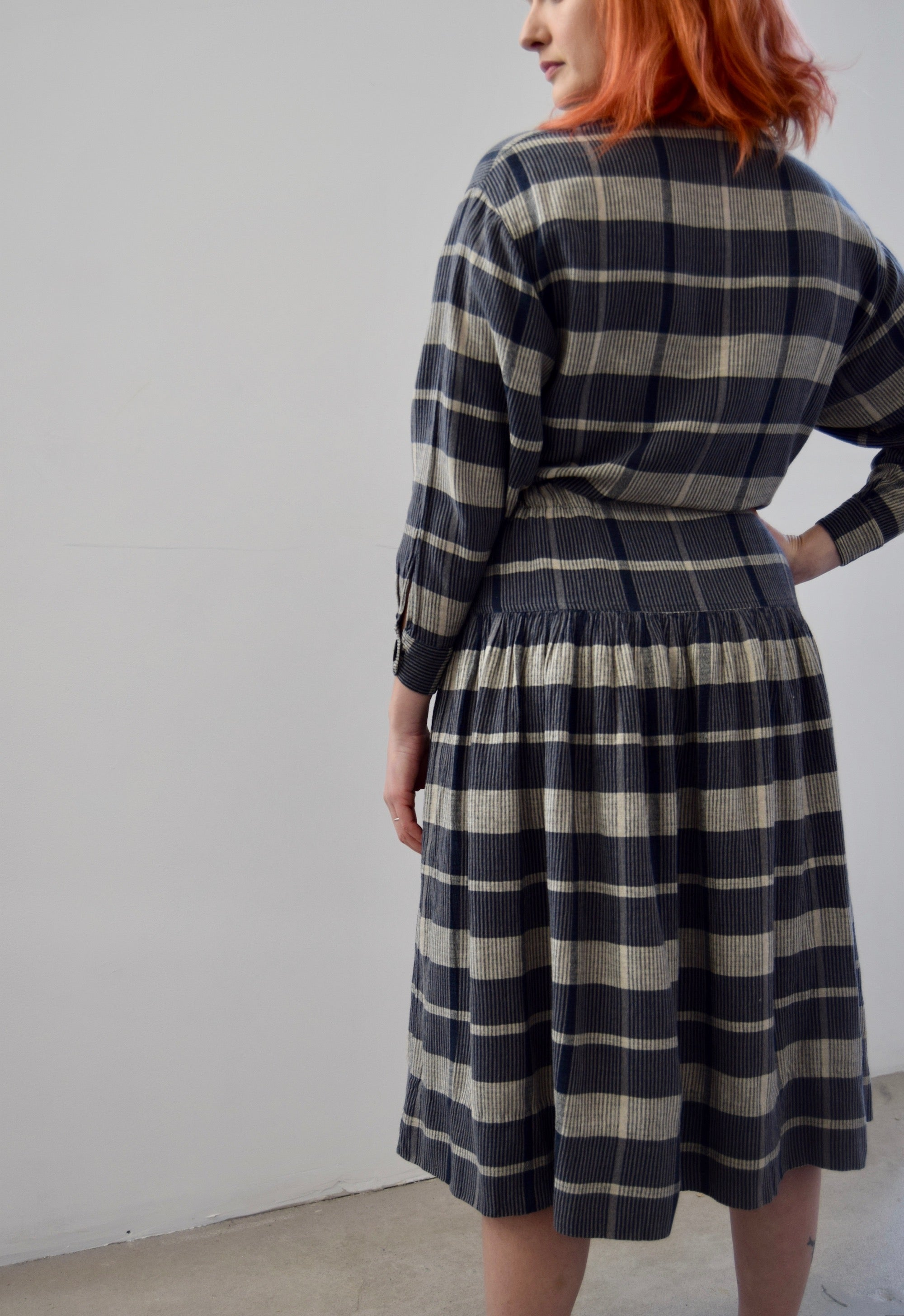 Steel Blue and Grey Plaid Cotton Dress